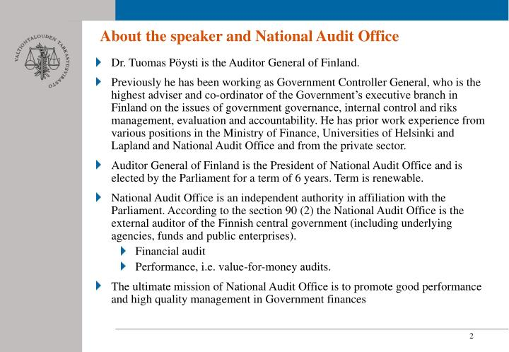 About the speaker and National Audit Office