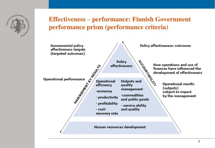 Effectiveness – performance: Finnish Government performance prism (performance criteria)