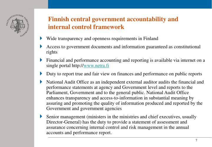 Finnish central government accountability and internal control framework