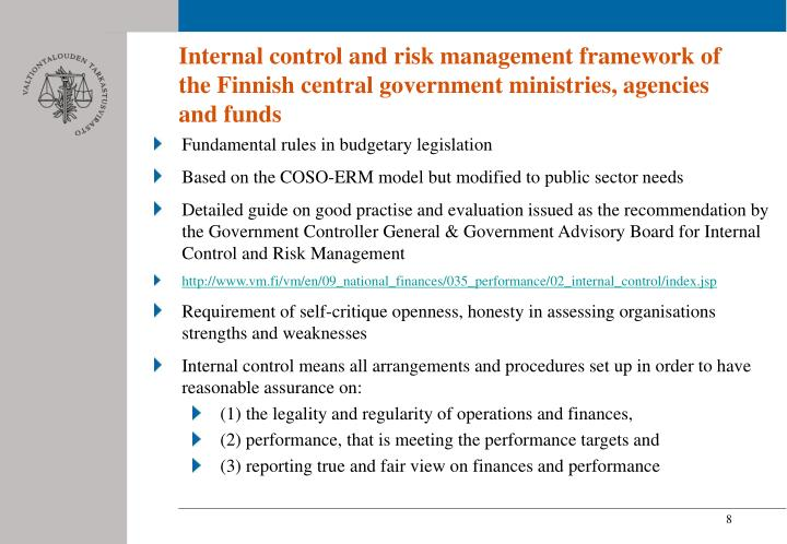 Internal control and risk management framework of the Finnish central government ministries, agencies and funds
