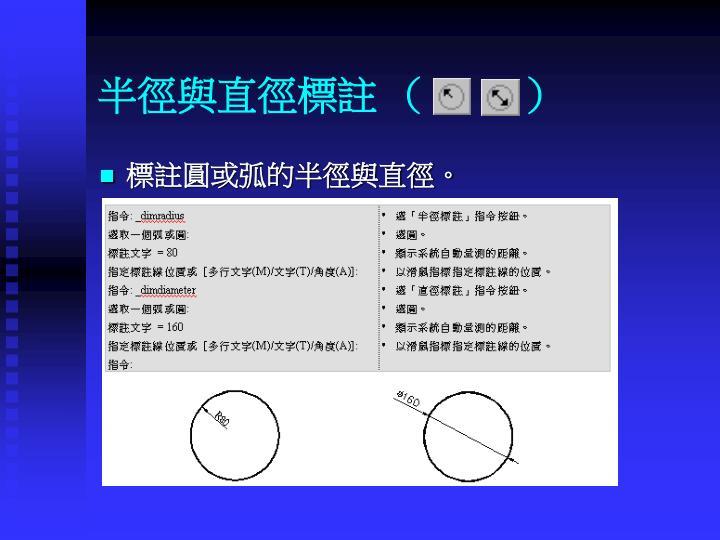 半徑與直徑標註 (         )