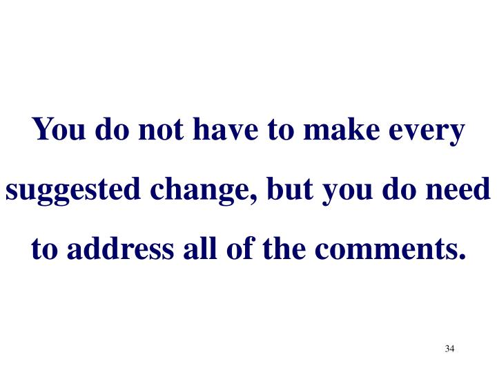 You do not have to make every suggested change, but you do need to address all of the comments.