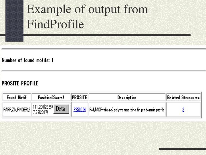 Example of output from FindProfile