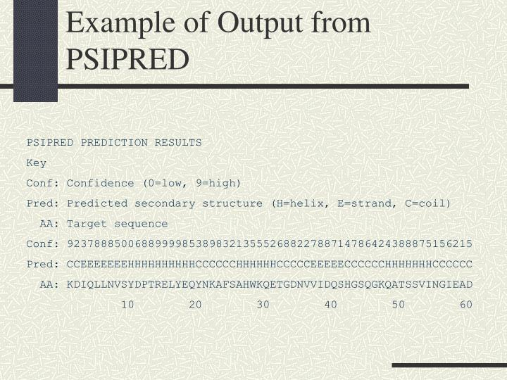 Example of Output from PSIPRED