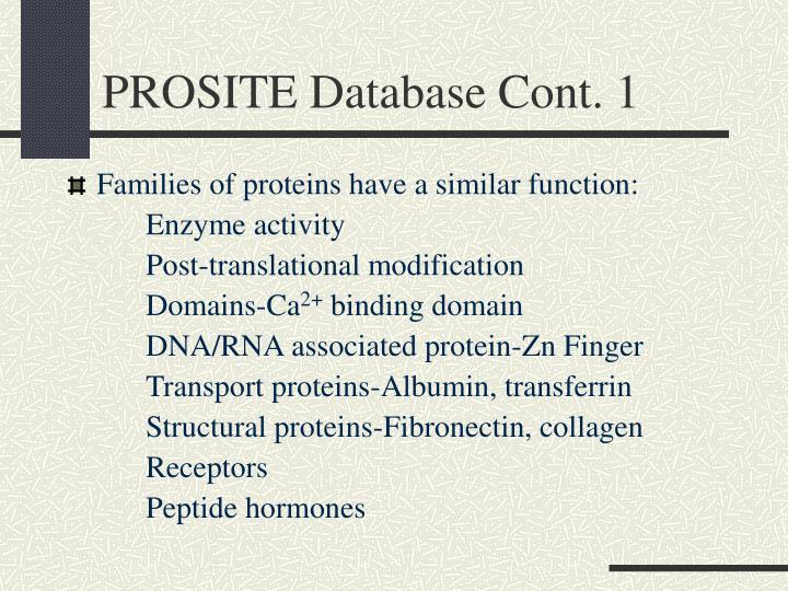PROSITE Database Cont. 1