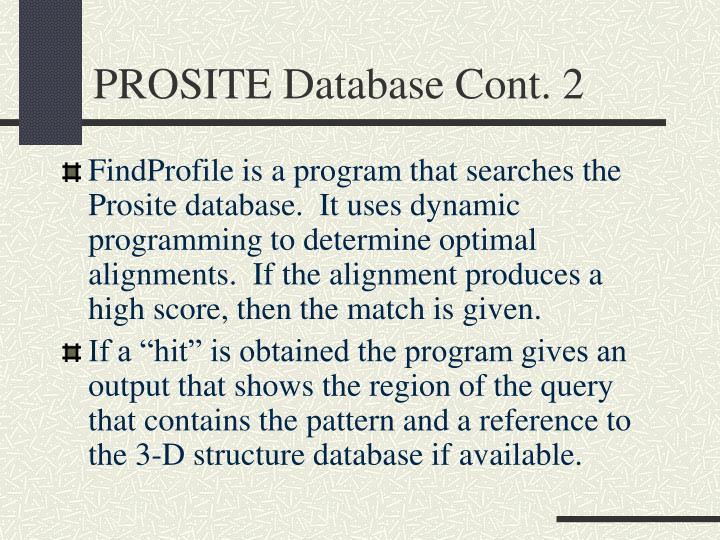 PROSITE Database Cont. 2