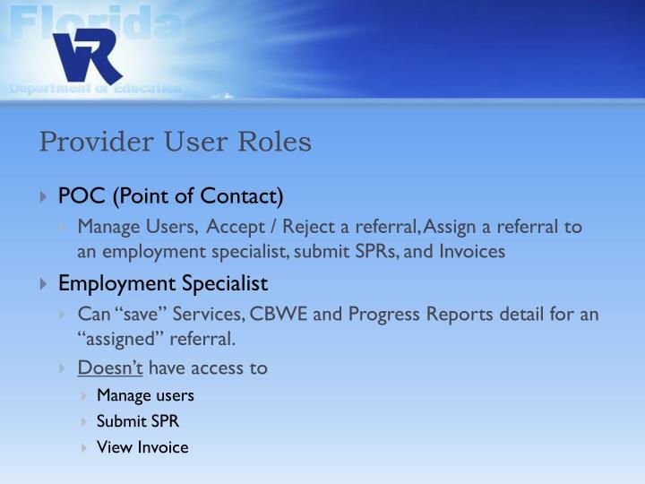 Provider User Roles
