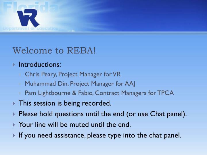 Welcome to REBA!