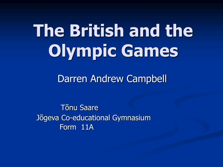 The british and the olympic games