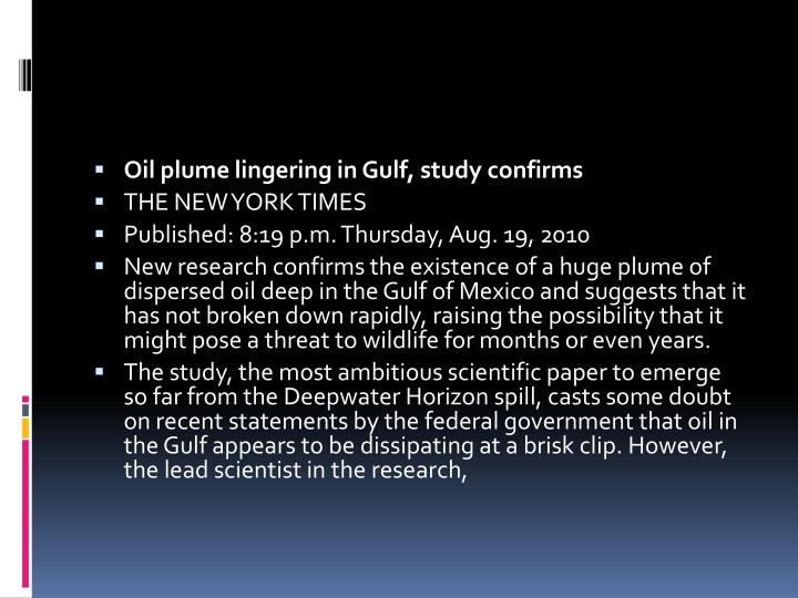 Oil plume lingering in Gulf, study confirms