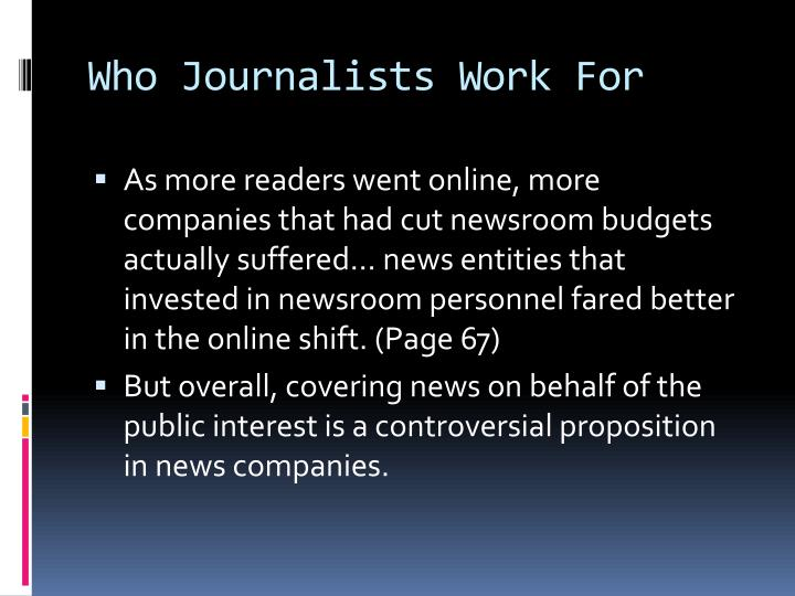 Who Journalists Work For