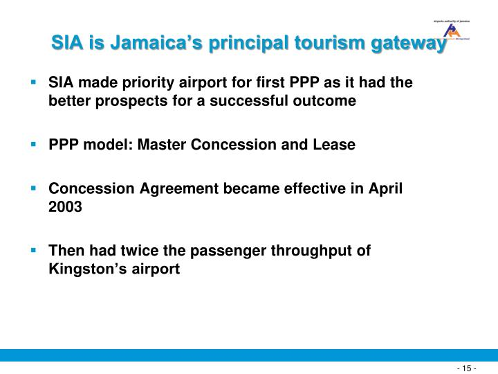 SIA is Jamaica's principal tourism gateway
