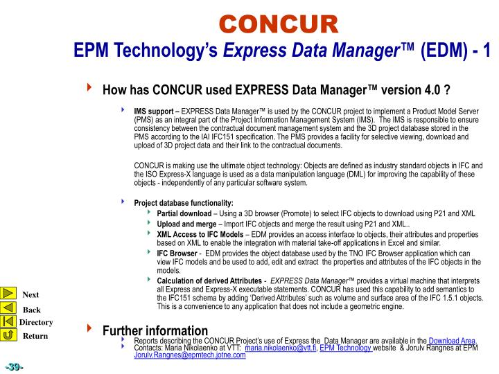 How has CONCUR used EXPRESS Data Manager™ version 4.0 ?