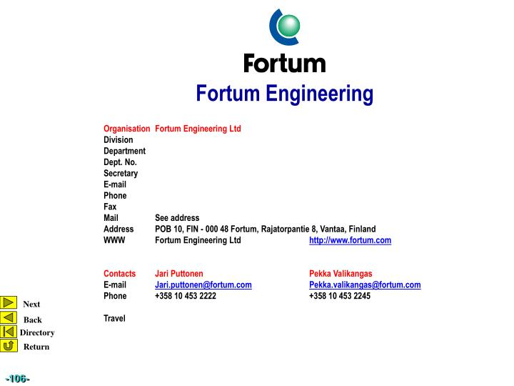 Organisation	Fortum Engineering Ltd