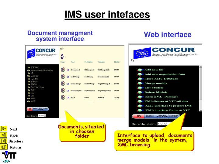 IMS user intefaces