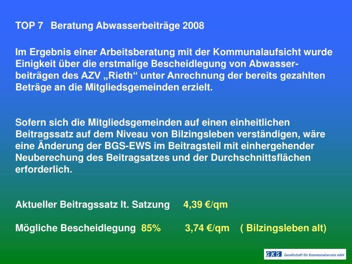 TOP 7Beratung Abwasserbeiträge 2008