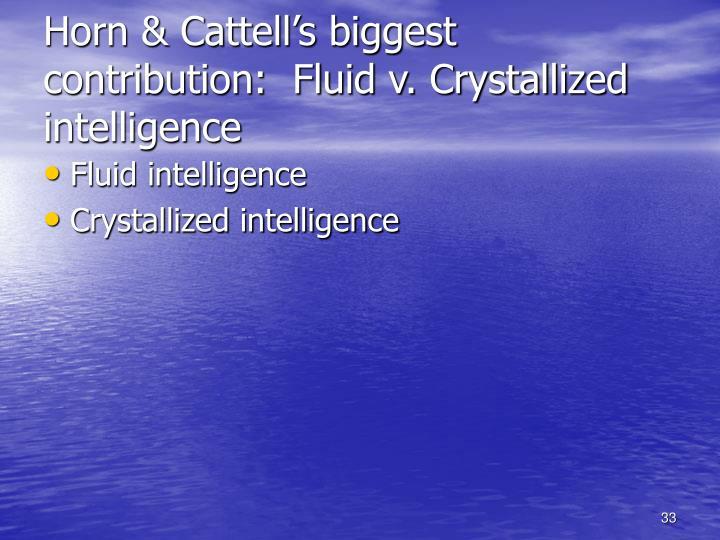 Horn & Cattell's biggest contribution:  Fluid v. Crystallized intelligence