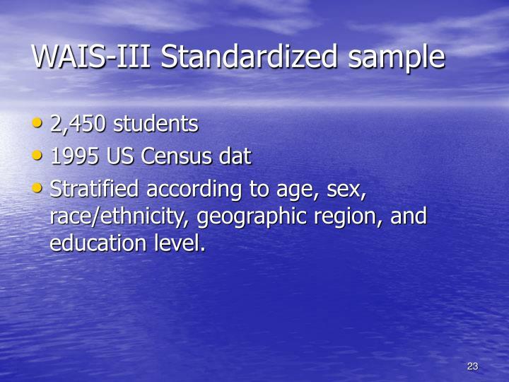 WAIS-III Standardized sample