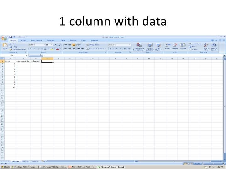 1 column with data