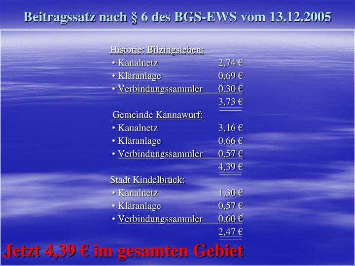 Beitragssatz nach § 6 des BGS-EWS vom 13.12.2005