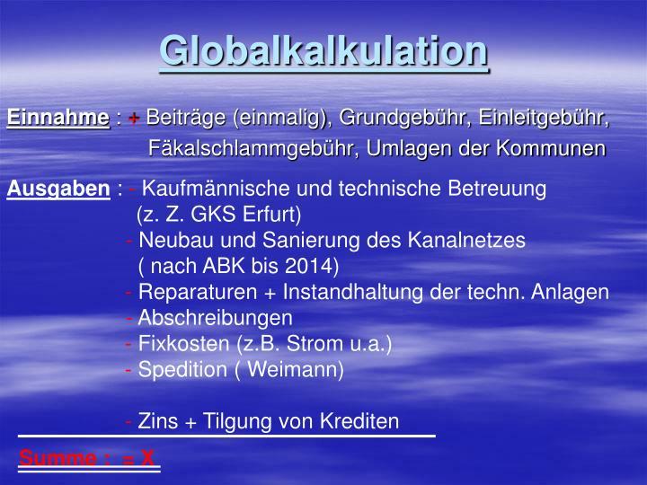 Globalkalkulation