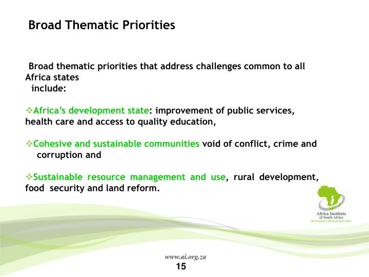 Broad Thematic Priorities