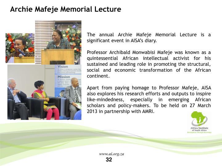 Archie Mafeje Memorial Lecture
