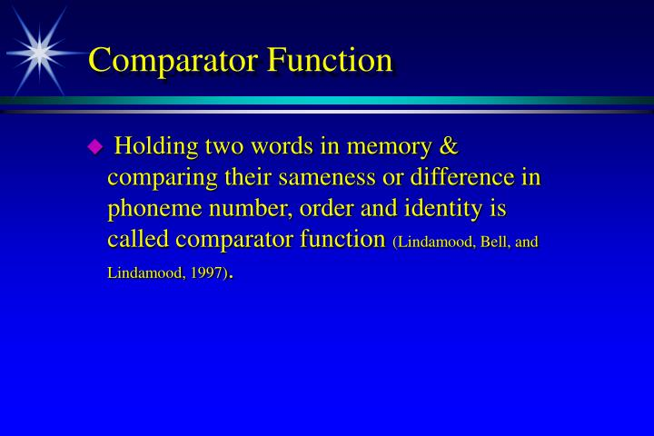 Comparator Function