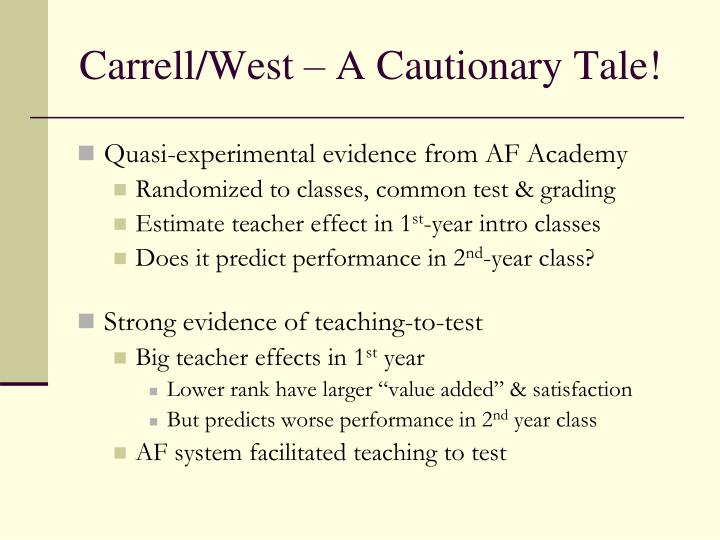 Carrell/West – A Cautionary Tale!