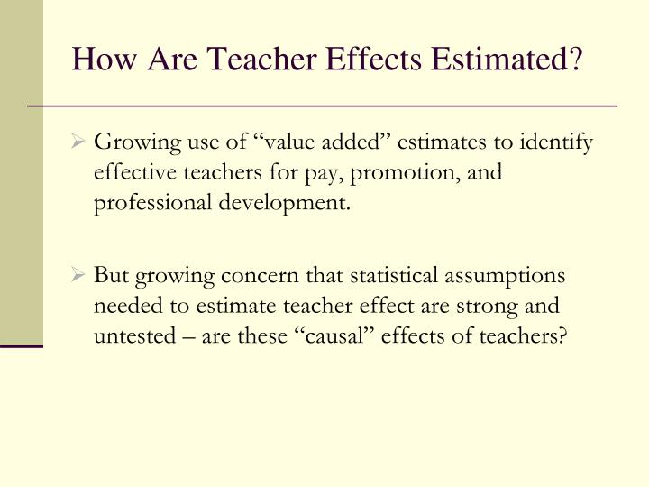 How Are Teacher Effects Estimated?