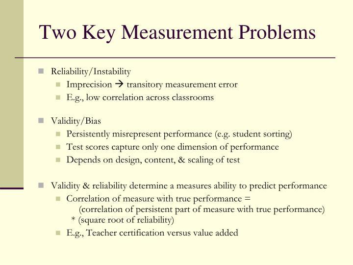 Two Key Measurement Problems