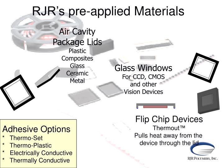 RJR's pre-applied Materials