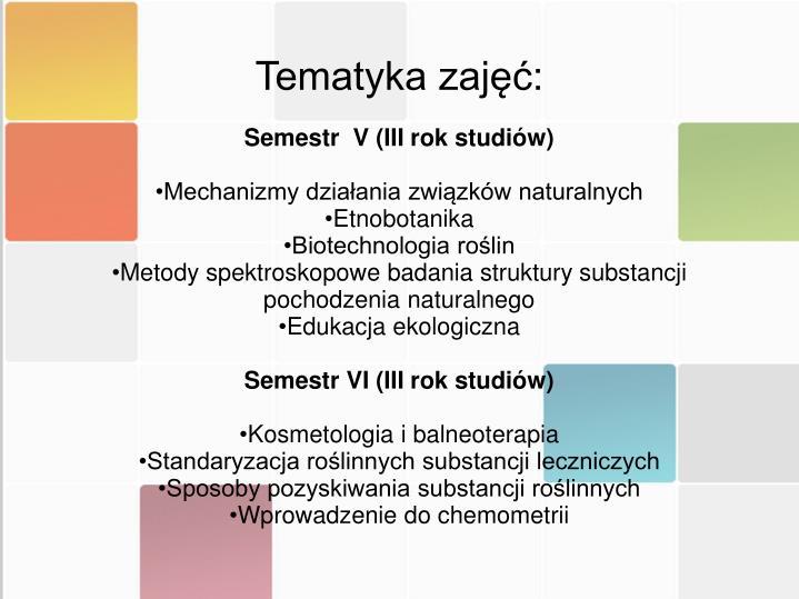 Tematyka zajęć: