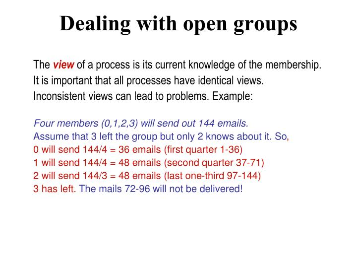 Dealing with open groups