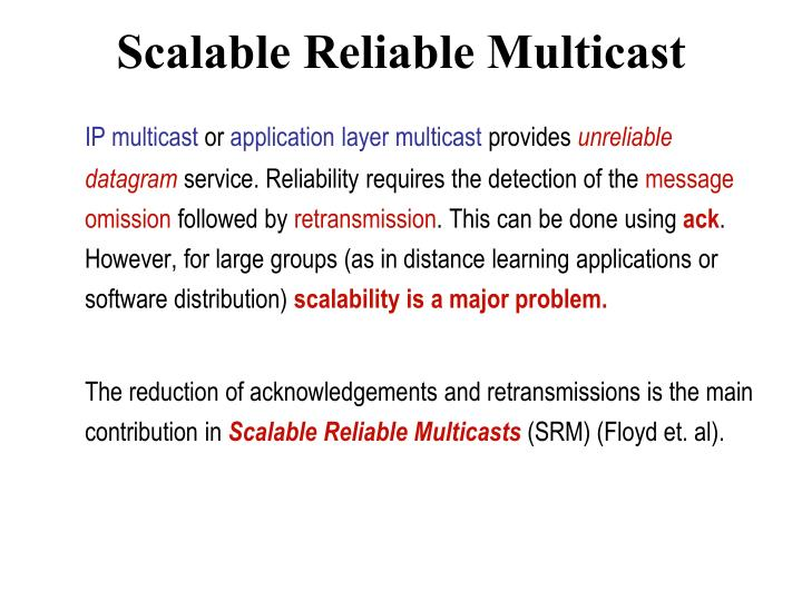 Scalable Reliable Multicast