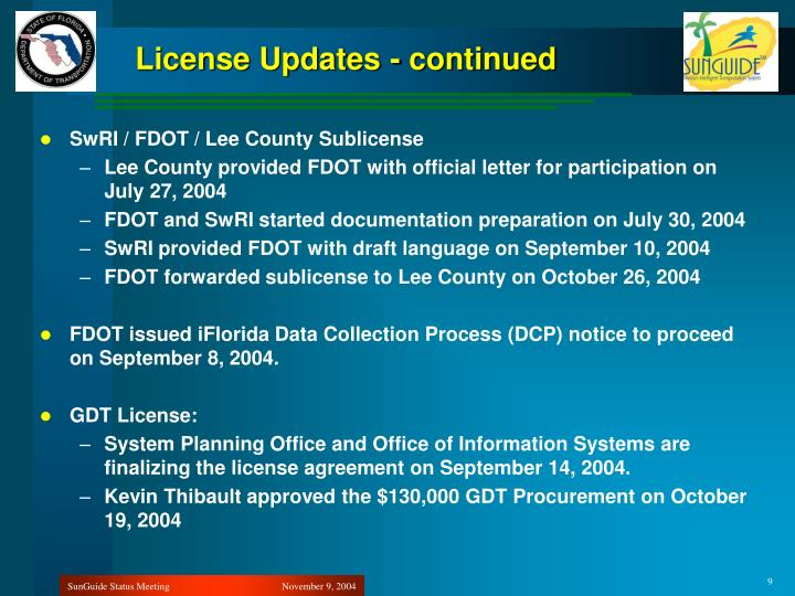 License Updates - continued
