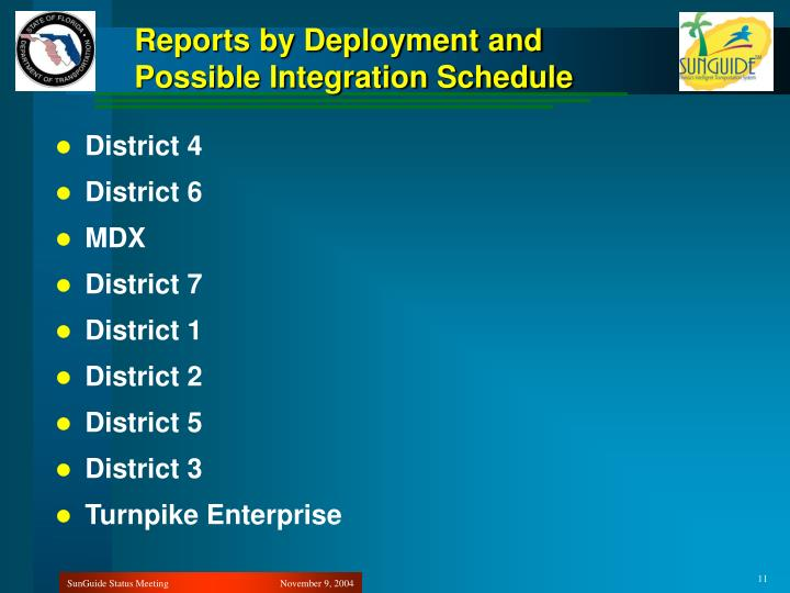 Reports by Deployment and Possible Integration Schedule
