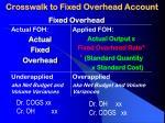 crosswalk to fixed overhead account