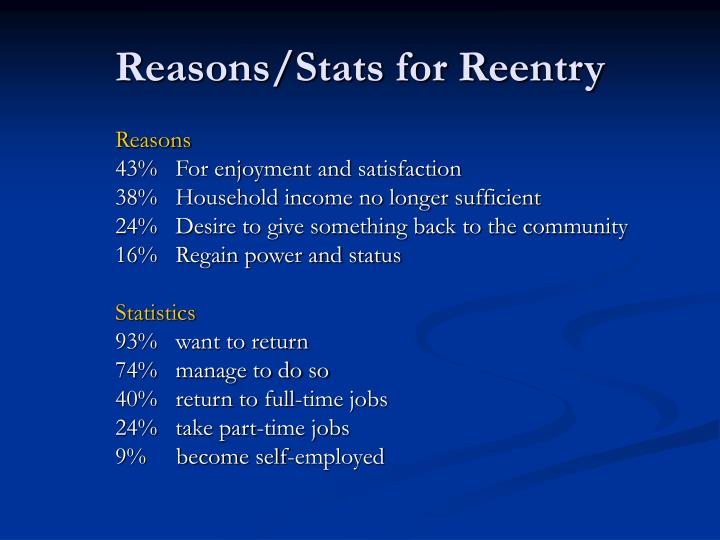 Reasons/Stats for Reentry