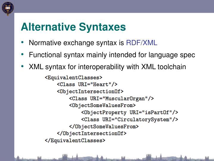 Alternative Syntaxes