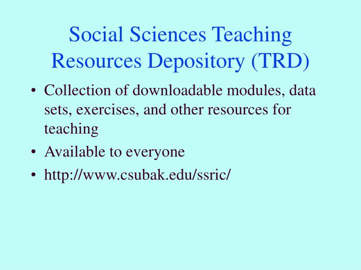 Social sciences teaching resources depository trd