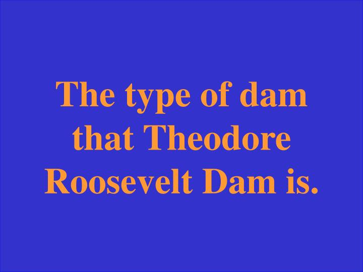 The type of dam that Theodore Roosevelt Dam is.