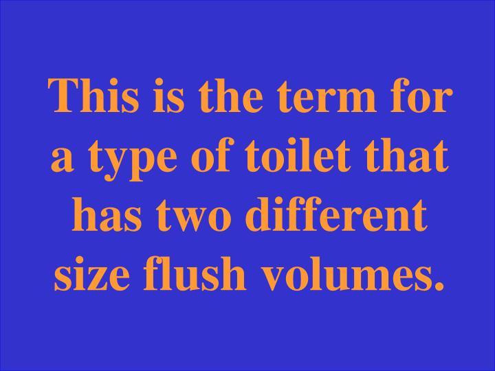 This is the term for a type of toilet that has two different size flush volumes.