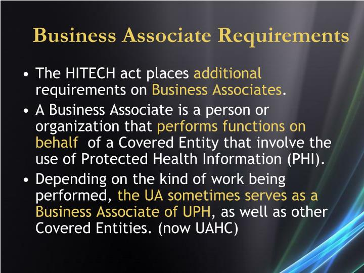 Business Associate Requirements