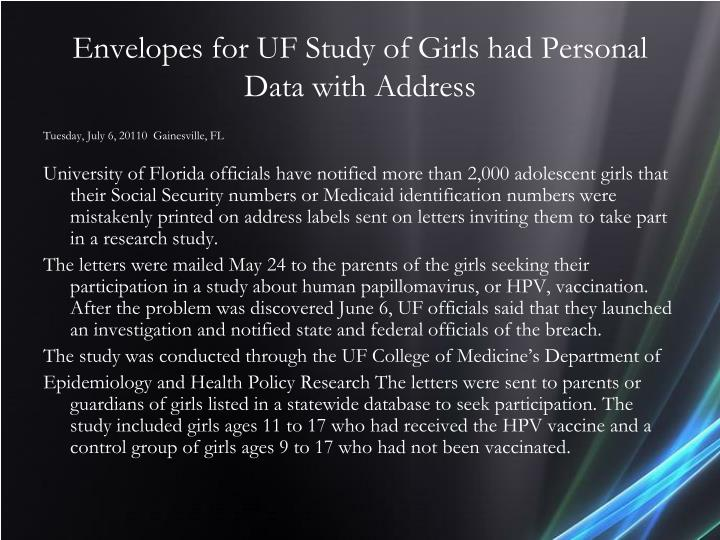 Envelopes for UF Study of Girls had Personal Data with Address