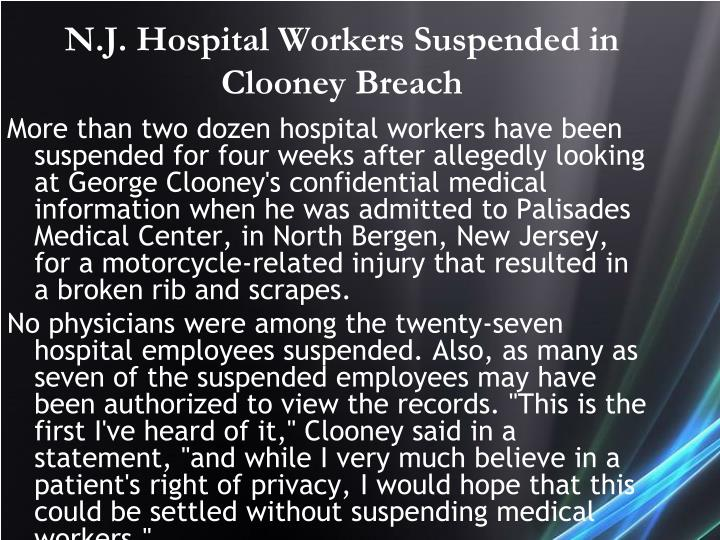 N.J. Hospital Workers Suspended in Clooney Breach
