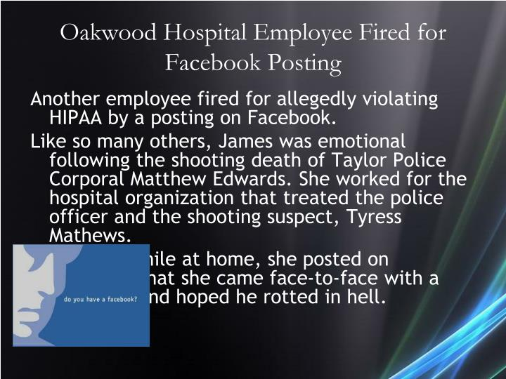 Oakwood Hospital Employee Fired for Facebook Posting