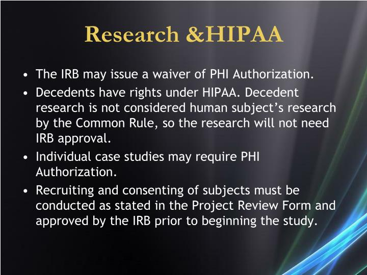 Research &HIPAA