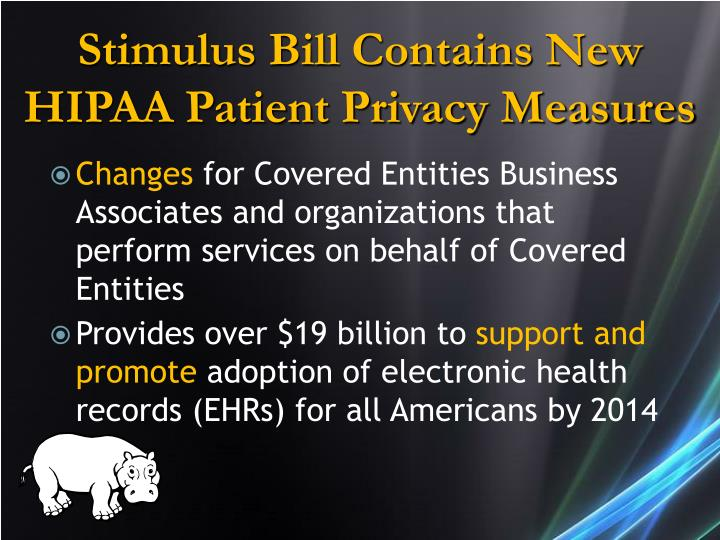 Stimulus Bill Contains New HIPAA Patient Privacy Measures