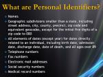what are personal identifiers